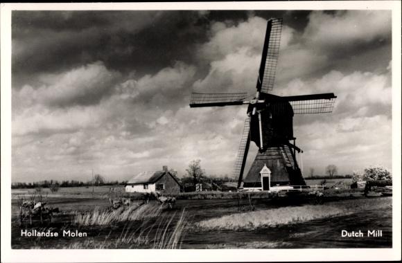 Ak Niederlande, Hollandse Molen, Durch Mill, Blick auf eine Windmühle