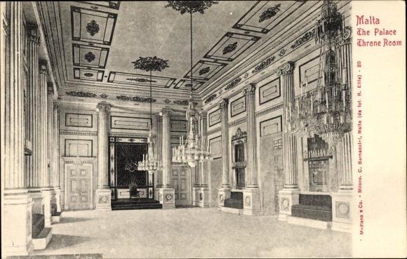 Ak Malta, The Palace, Throne Room, Thronsaal im Palast, Innenansicht