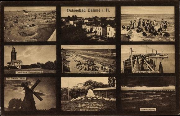 Ak Ostseebad Dahme in Holstein, Strandleben, Windmühle, Kriegerdenkmal, Anlegestelle, Leuchtturm