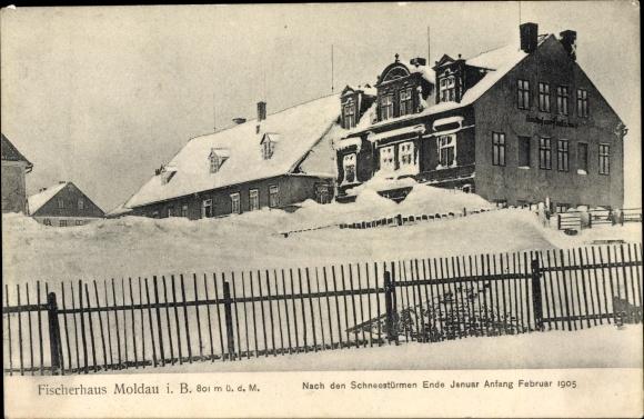 Ak Moldava Moldau Reg. Aussig, Fischerhaus, Schneestürme vom Februar 1905