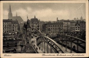 Ak Szczecin Stettin Pommern, Hansabrücke, Bollwerk und Jacobikirche, Geschäftshäuser