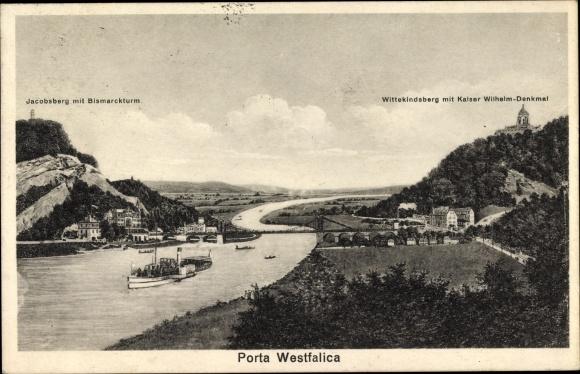 Ak Porta Westfalica in Nordrhein Westfalen, Jacobsberg, Bismarckturm, Wittekindsberg