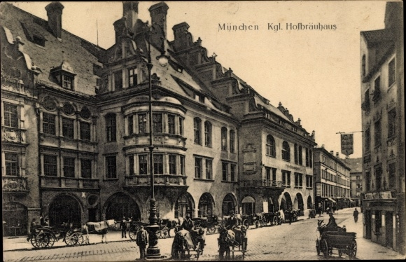 Ak München Bayern, Königliches Hofbräuhaus, Seitenansicht, Pferdekutsche
