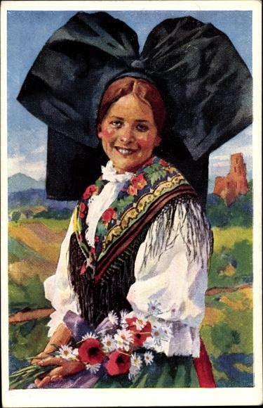 Künstler Ak Costume Alsacien, Frau in Elsässer Volkstracht