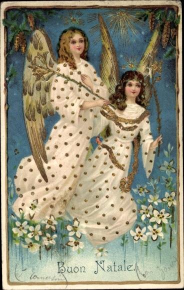 Präge Ak Buon Natale, Frohe Weihnachten, Engel, Sterne, Blumen