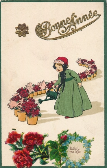 Präge Ak Bonne Année, l'Amitié vous l'offre, Glückwunsch Neujahr, Blumen, Mädchen, Gießkanne