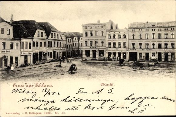 Ak Sławno Schlawe Pommern, Marktplatz, Geschäft D. Lowenthal, Gustav Dietrich
