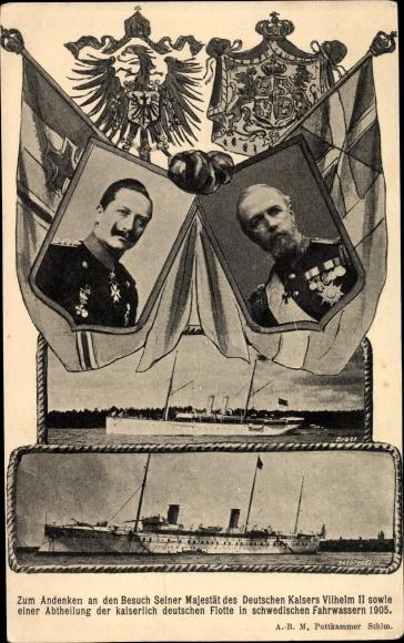 Ak Kaiser Wilhelm II., König Oskar II. von Schweden, Staatsbesuch 1905, SMY Hohenzollern