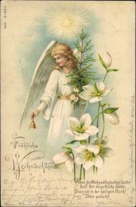 Litho Glückwunsch Weihnachten, Engel mit Tannenbaum, Stern, Christrosen