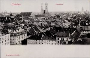 Ak München Bayern, Frauenkirche, Panorama, Stadtbild