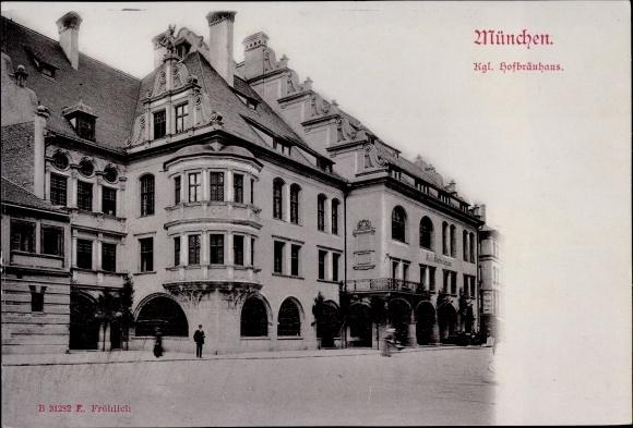 Ak München Bayern, Königliches Hofbräuhaus, Straßenansicht, Arkaden