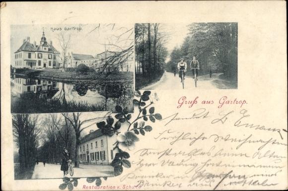 Ak Gartrop Bühl Hünxe am Niederrhein, Haus Gartrop, Restauration v. Schulte, Radfahrer