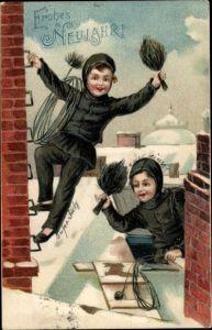 Präge Ak Glückwunsch Neujahr, Schornsteinfeger, Schnee, Kinder