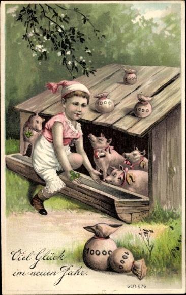 Präge Ak Glückwunsch Neujahr, Schweine, Geldsäcke, Hufeisen, Kleeblätter
