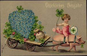 Präge Ak Glückwunsch Neujahr, Schwein, Kleeblätter, Geldsack, Vergissmeinnicht