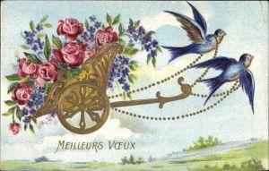 Präge Ak Meilleurs Voeux, Schwalben, fliegender Wagen, Rosen, Vergissmeinnicht