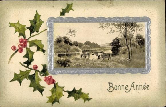 Präge Passepartout Ak Bonne Année, Glückwunsch Neujahr, Kuhweide, Stechpalmenzweig