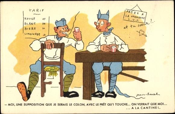 Künstler Ak Cheval, Jean, Französische Soldaten in der Kantine, Karikatur