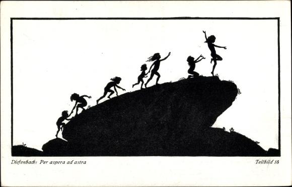 Scherenschnitt Künstler Ak Diefenbach, Per aspera ad astra, Teilbild 18
