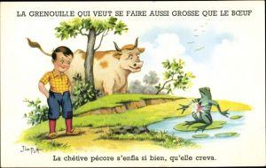 Künstler Ak Patt, Jim, La Grenouille qui veut se faire aussi grosse que le Boeuf, geplatzter Frosch