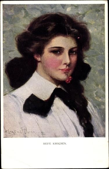 Künstler Ak Underwood, Clarence, Reife Kirschen, Frauenportrait, M. Munk Nr. 832