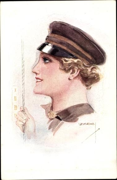 Künstler Ak Usabal, Luis, Junge Frau in Uniform, Portrait, Uniformmütze