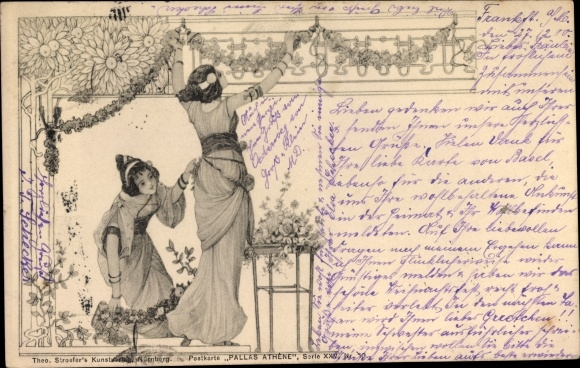 Jugendstil Ak Zwei Frauen beschmücken eine Wand mit Blumen, Stroefer, Pallas Athene