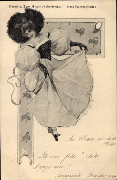 Künstler Ak Junge Frau in Tanzpose, Langer Rock, Stroefer, Renaissance Postkarte 7