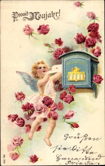 Präge Litho Glückwunsch Neujahr, Engel wirft Brief in Briefkasten, Rosenblüten