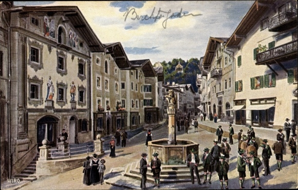 Künstler Ak Berchtesgaden in Oberbayern, Partie auf dem Marktplatz, Brunnen