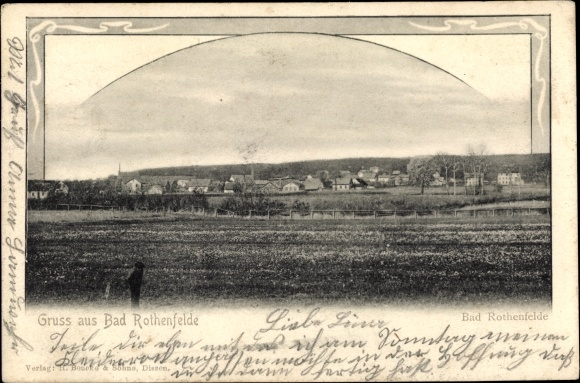 Passepartout Ak Bad Rothenfelde am Teutoburger Wald, Blick vom Feld auf die Stadt