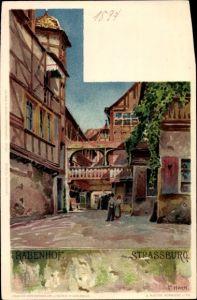 Künstler Litho Hoch, F., Strasbourg Straßburg Elsass Bas Rhin, Rabenhof