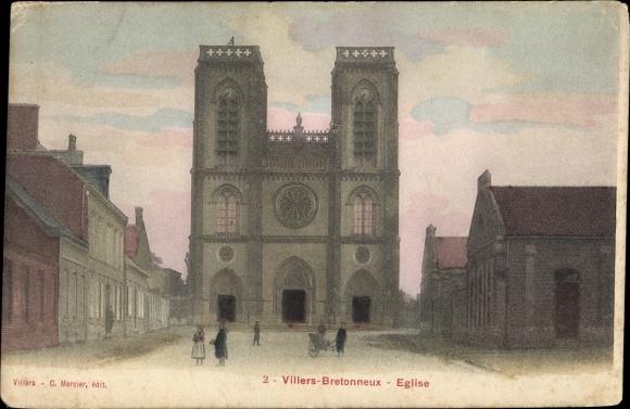 Ak Villers Bretonneux Somme, Église, Kirche