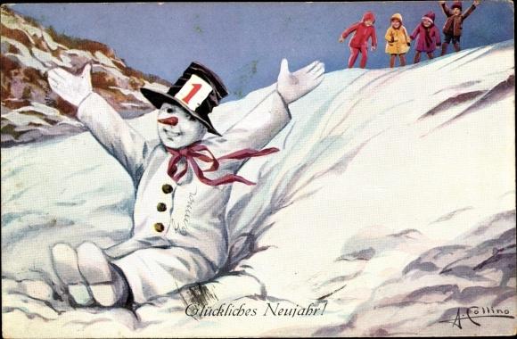 Künstler Ak Collino, A., Glückwunsch Neujahr, Schneemann, Kinder
