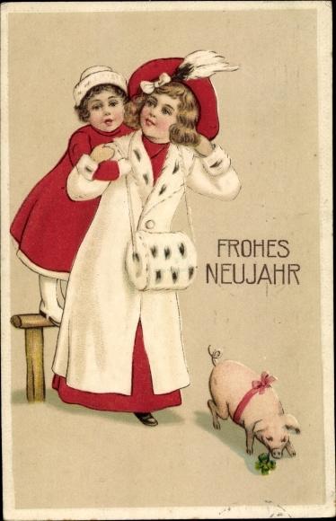 Präge Ak Glückwunsch Neujahr, Mädchen, Muff, Schwein, Kleeblatt  0