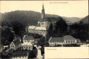 Ak Weesenstein Müglitztal in Sachsen, Schloss Weesenstein, Gasthof, Totalansicht