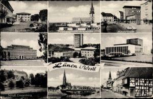 Ak Lünen in Nordrhein Westfalen, Stadtbad, Gymnasium, Schloß Cappenburg, Lippebrücke, Stadttheater