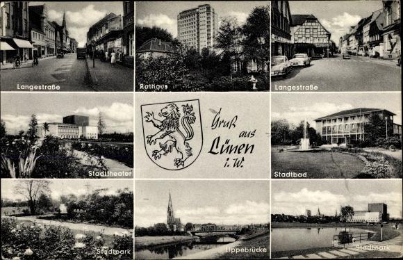 Ak Lünen in Nordrhein Westfalen, Wappen, Rathaus, Stadtpark, Lippebrücke, Langestraße