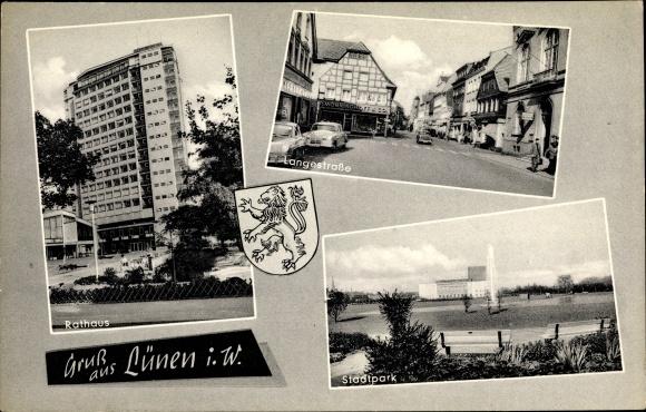 Ak Lünen in Nordrhein Westfalen, Wappen, Rathaus, Stadtpark, Langestraße