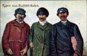 Ak Typen aus Russisch Polen, Männer in traditioneller Kleidung