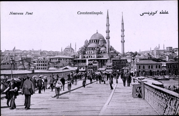 Ak Konstantinopel Istanbul Türkei, Nouveau Pont, Brücke, Moschee