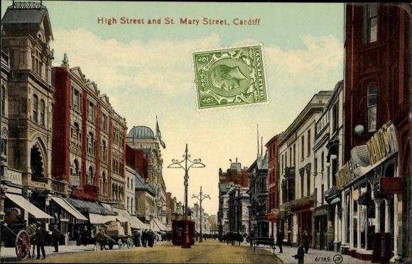 Ak Cardiff Wales, High Street and St. Mary Street, Geschäfte, Passanten