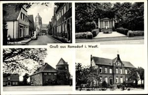 Ak Ramsdorf Velen im Münsterland, Langestraße, Ehrenmal, Burg, Rathaus, St. Walburgis Krankenhaus