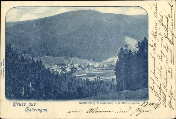 Passepartout Ak Manebach Ilmenau Thüringen, Kammerberg, Panorama von der Marienquelle