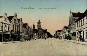 Ak Verden an der Aller, Blick in die Große Straße mit Rathaus, Geschäfte