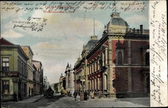 Ak Osnabrück in Niedersachsen, Blick in die Wittekindstraße, Post, Stadtansicht
