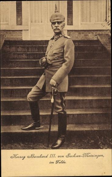 Ak Herzog Bernhard III. von Sachsen Meiningen im Felde, Portrait