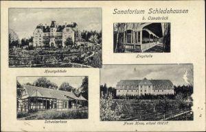 Ak Schledehausen Bissendorf in Niedersachsen, Sanatorium, Schweizerhaus, Liegehalle, Neues Haus