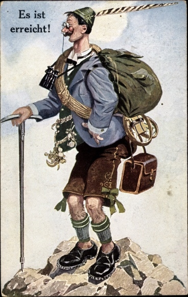 Künstler Ak Es ist erreicht, Bergsteiger, Wanderer, Fernglas, Gehstock