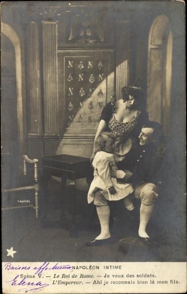 Ak Napoleon Intime, Scene V, Roi de Rome, Marie Louise, Theaterszene